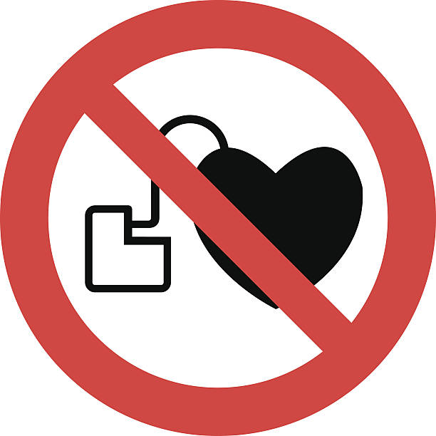 No access with cardiac pacemaker sign No access with cardiac pacemaker sign pacemaker stock illustrations