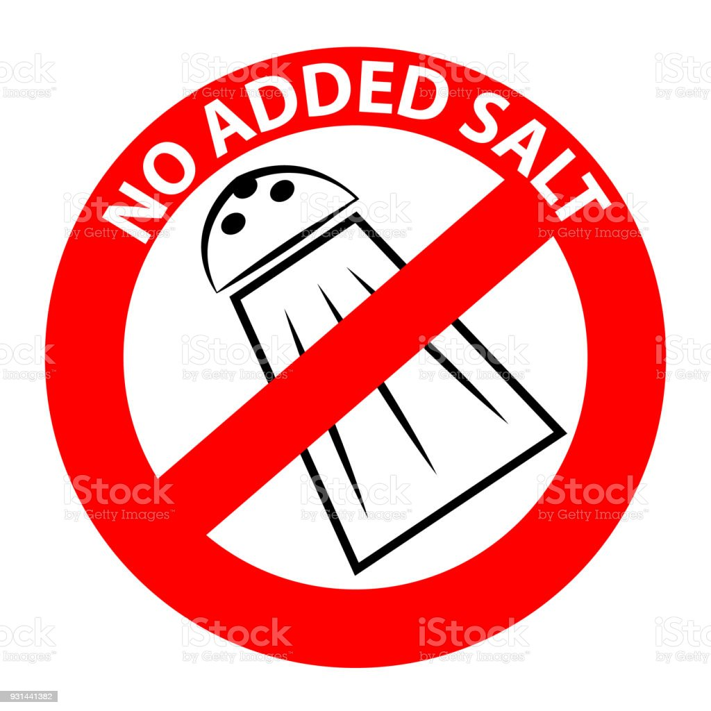 No Added Salt Symbol Isolated On White Background Vector