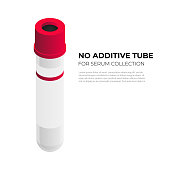 No additine tube vacutainer for serum collection in isometric design, vector illustration isolated on white background. Vacuum tube with red cap infographic element, blood tube isometric icon