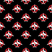Vector illustration of white airplanes with red no symbols on them on a black background.