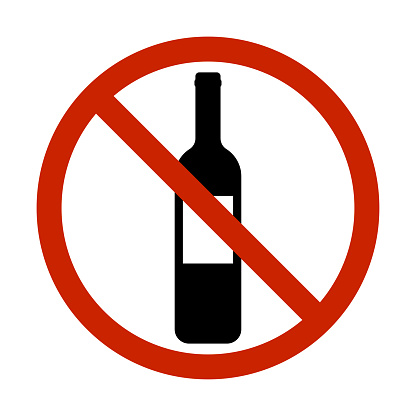 no alcohol allowed drinking prohibited sign vector