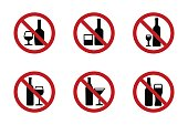 No alcohol icons set with various drinks
