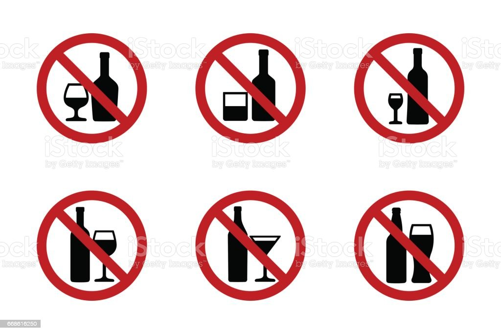 No alcohol icons set with various drinks vector art illustration