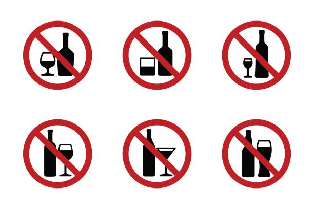 no alcohol icons set with various drinks - alcohol stock illustrations, clip art, cartoons, & icons