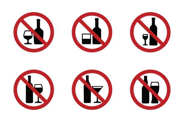 illustrations, cliparts, dessins animés et icônes de aucuns icônes alcool ne serti de diverses boissons - alcool
