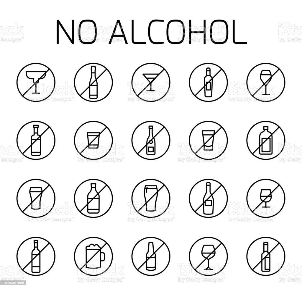 No alcohol related vector icon set. vector art illustration