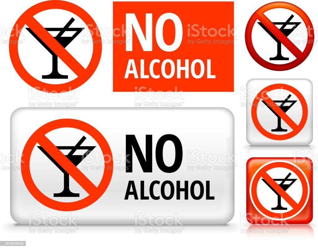 No Alcohol royalty free vector art Buttons vector art illustration