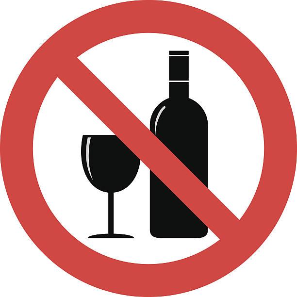 알코올 팻말 없습니다 - prohibition stock illustrations