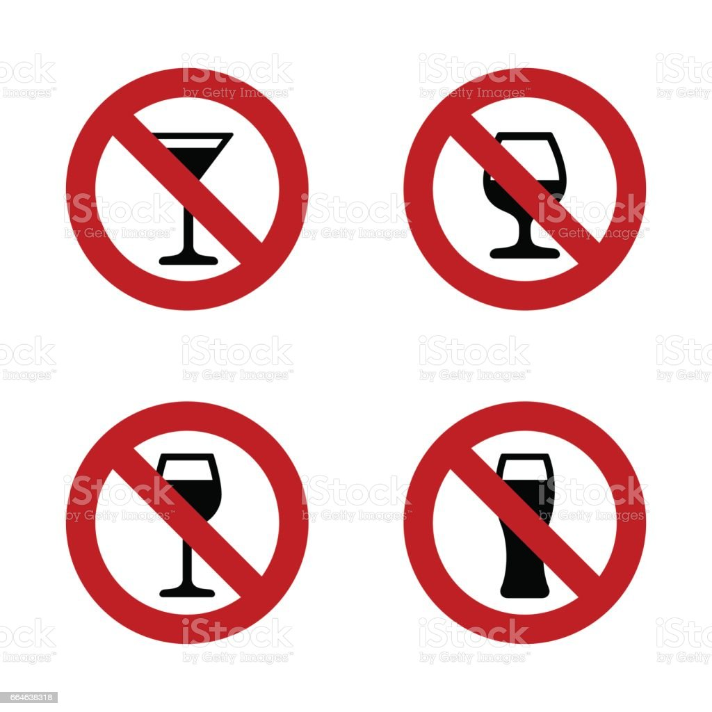 No alcohol Signs set with various drink glasses vector art illustration