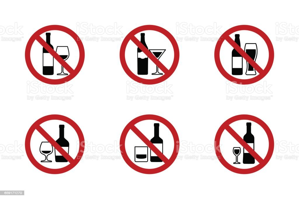 No alcohol Signs set with various drinks vector art illustration