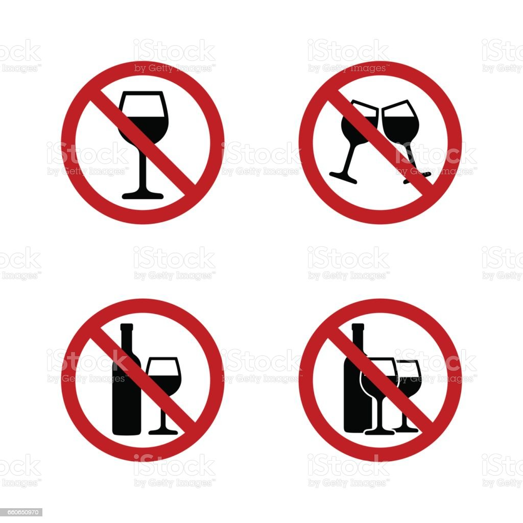 No alcohol Signs set with wine and wineglass vector art illustration