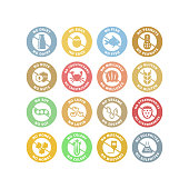 No allergens circle stickers colorful stamp set. No gluten, no dairy, no peanuts vector labels in pastel colors.