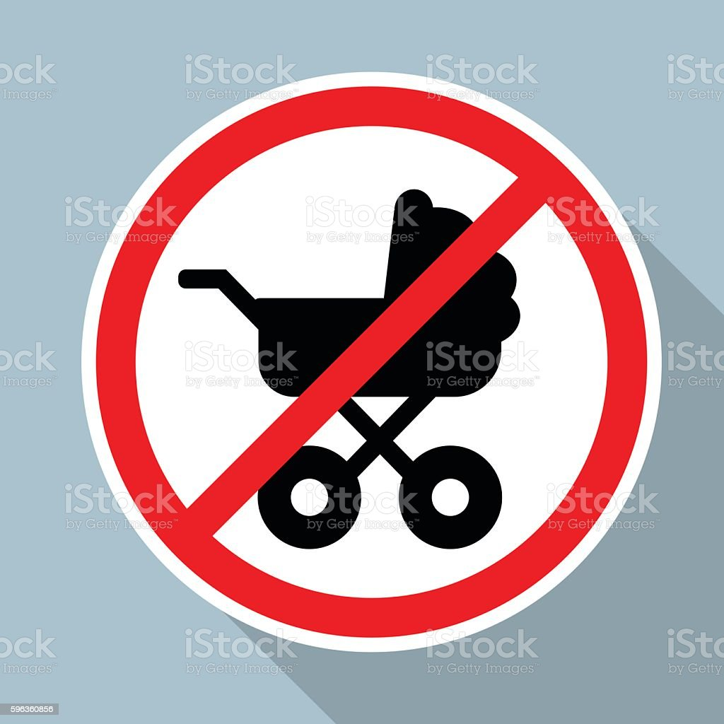 No Baby Carriage Sign on blue background royalty-free no baby carriage sign on blue background stock vector art & more images of advice