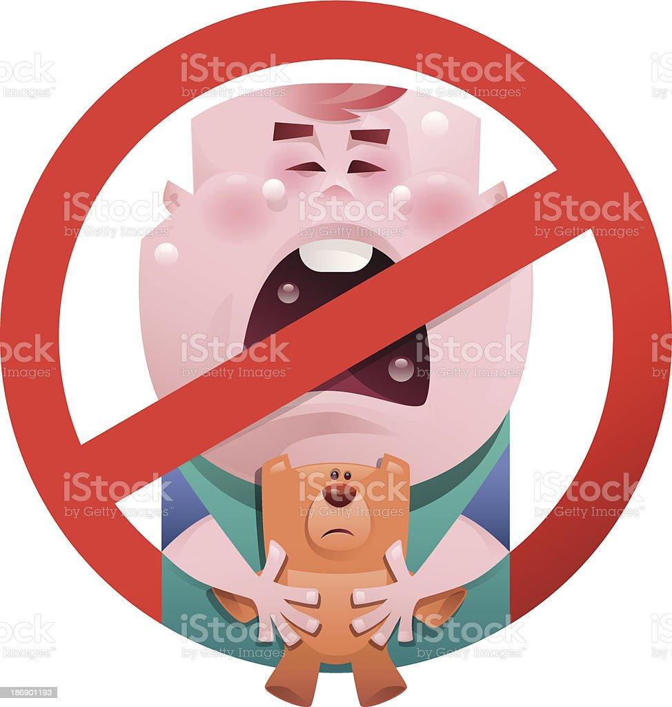 no baby crying symbol vector art illustration
