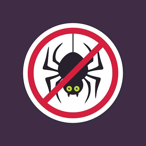 illustrazioni stock, clip art, cartoni animati e icone di tendenza di no, divieto o interrompere le indicazioni. ragno icona di halloween - deadly sings
