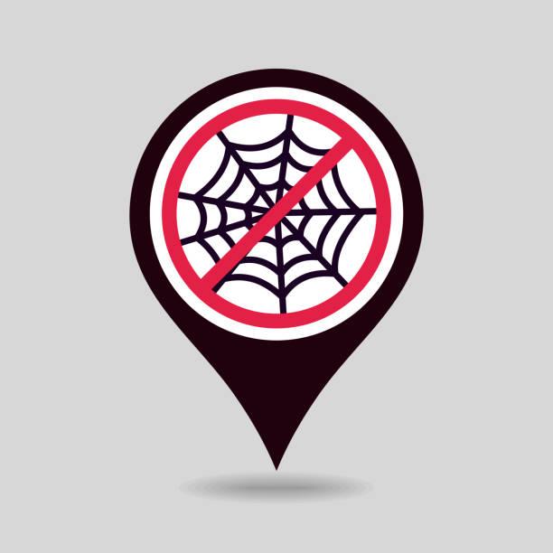 illustrazioni stock, clip art, cartoni animati e icone di tendenza di no, ban or stop signs. spider web halloween icon - deadly sings