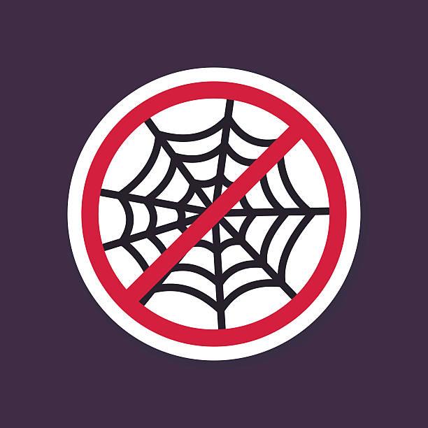illustrazioni stock, clip art, cartoni animati e icone di tendenza di no, divieto o interrompere le indicazioni. spider web icona di halloween - deadly sings