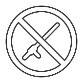 No baton symbol thin line icon,  concept, beat and violence prohibition sign on white background, stop police brutality and physical bullying icon in outline. Vector graphics