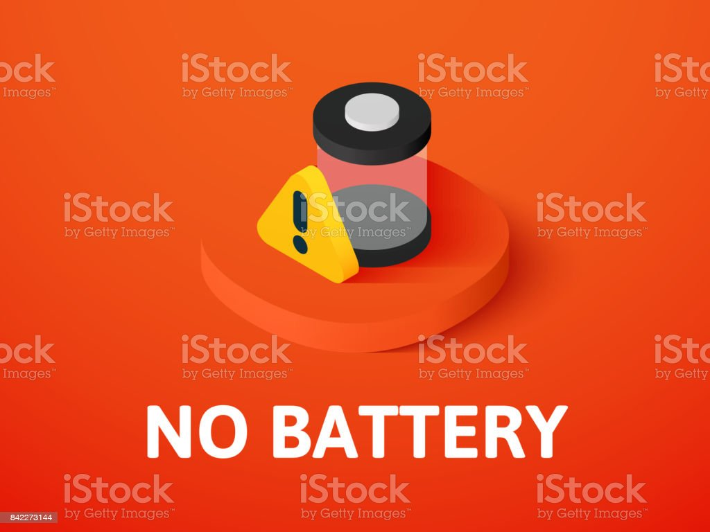 No battery isometric icon, isolated on color background vector art illustration