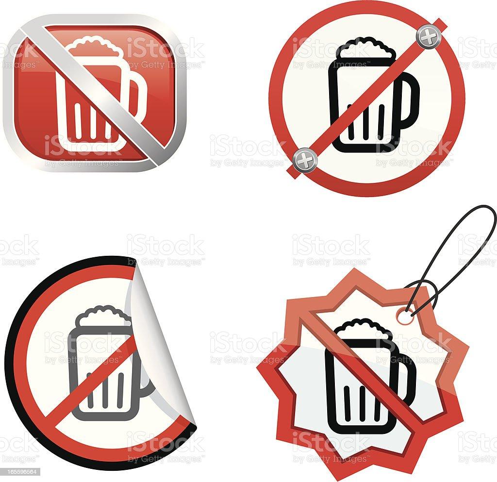No beer allowed vector art illustration