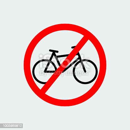 No Bicycle Sign.Bicycle prohibition symbol.Vector Design