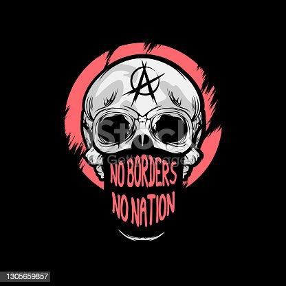 No Border No Nation Skull Wearing Mask Protest T-shirt Design Illustration