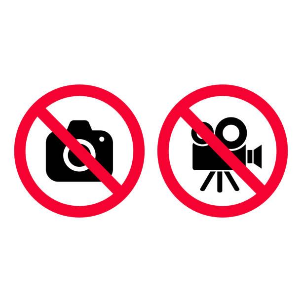 아니 카메라 및 비디오 빨간색 금지 서명 한다입니다. 사진 촬영 하 고 녹음 허용 되지 않습니다. 촬영 흔적입니다. 비디오 카메라 흔적입니다. - 사진 촬영 이미지 캡처 stock illustrations