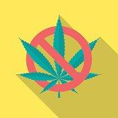 No cannabis leaf icon with long shadow.