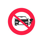 No car or vehicle engine running sign vector, flat cartoon prohibited or forbidden automobile park with started engine symbol isolated, stop started auto icon