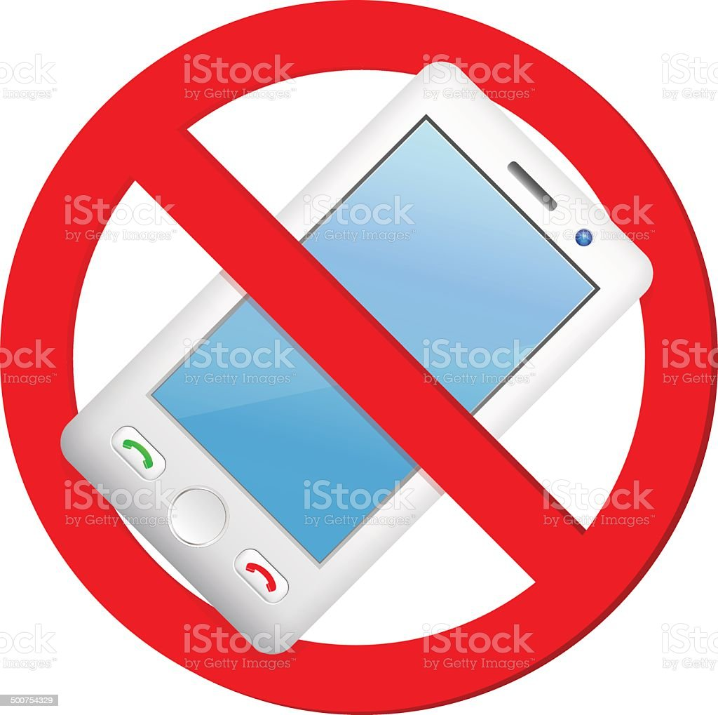 No cell phone sign vector art illustration
