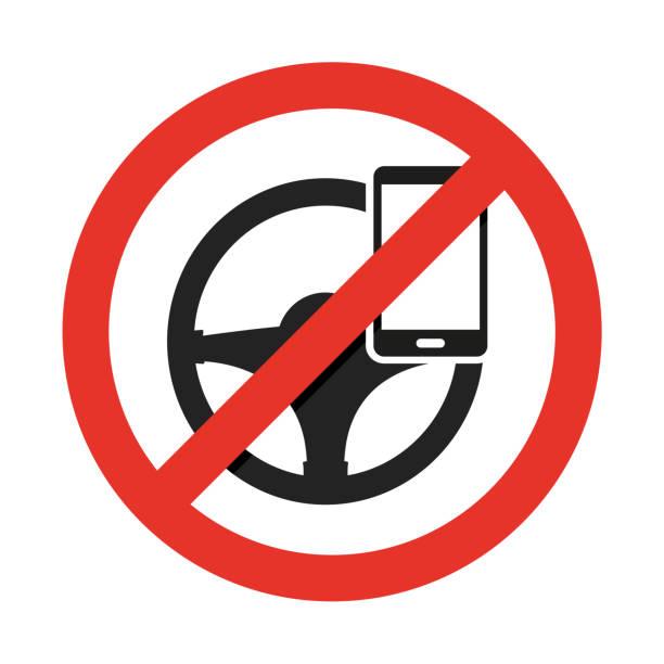 ilustraciones, imágenes clip art, dibujos animados e iconos de stock de no teléfono celular, durante la conducción. vector de señal - conductor