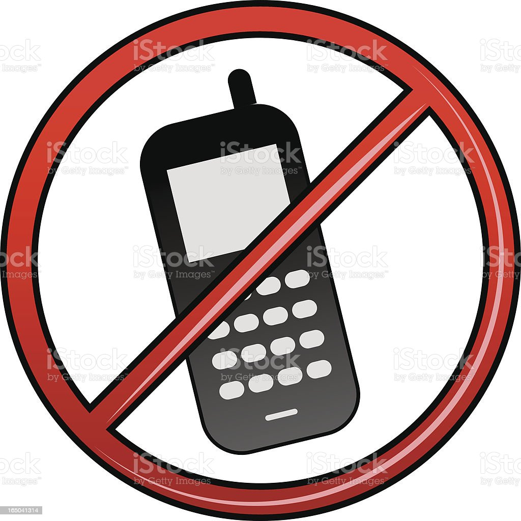 No cell phones allowed royalty-free stock vector art