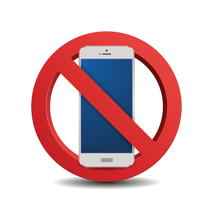 No cellphone sign 3d, isolated on white background