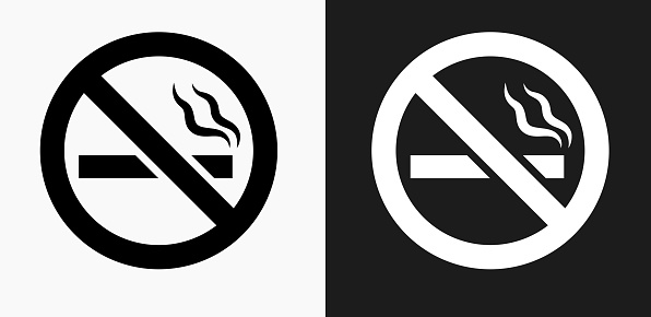 No Cigarette Smoking Icon on Black and White Vector Backgrounds