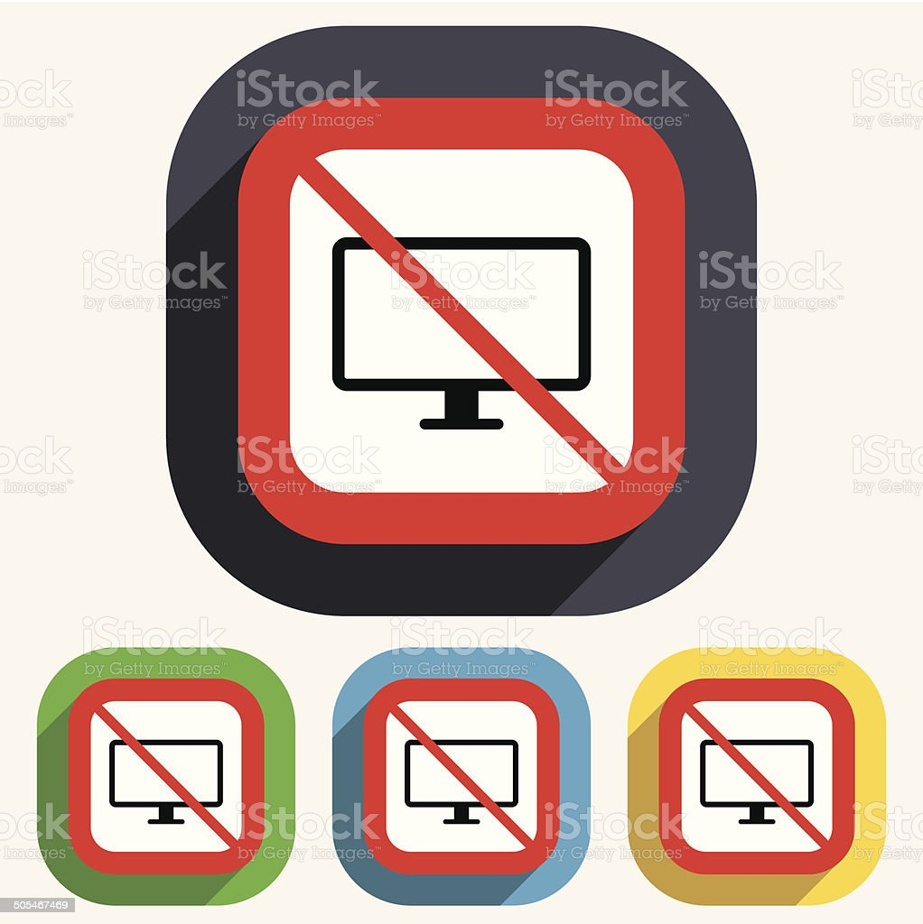No Computer widescreen monitor sign icon. royalty-free stock vector art
