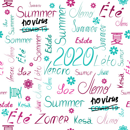 No covid 19 Vector seamless three-color pattern of summer 2020 words written by hand in different peoples languages background white, letters and words of fashionable green red shades