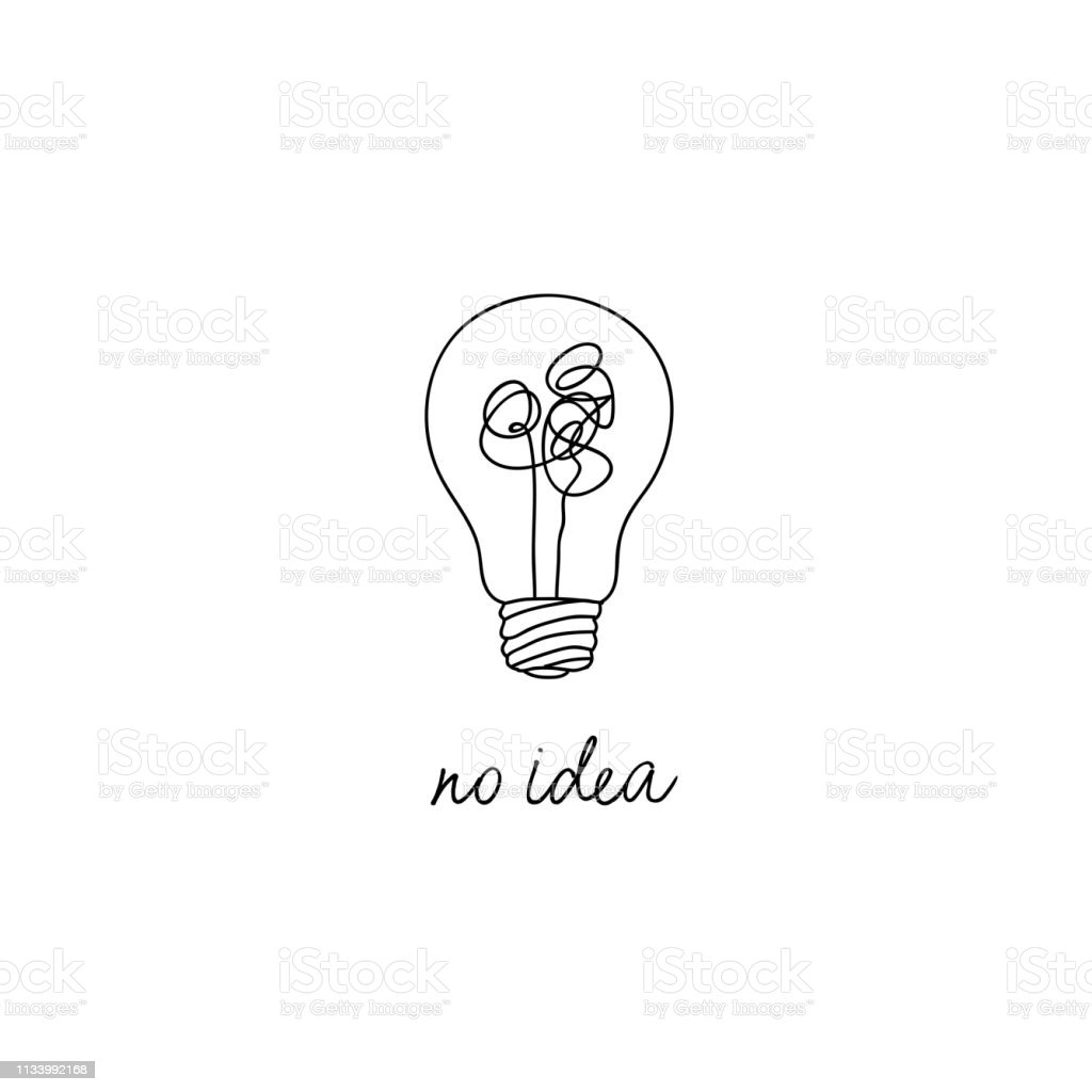 No Creativity Complicated Idea Concept Illustration Simple Line Light Bulb With Tangled Filament  ~ 01114823_Einfache Zeichnung Liegestuhl