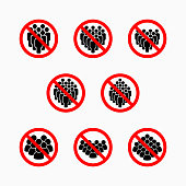istock no crowd of people icon, do not crowd vector, prohibit icon set 1218802981