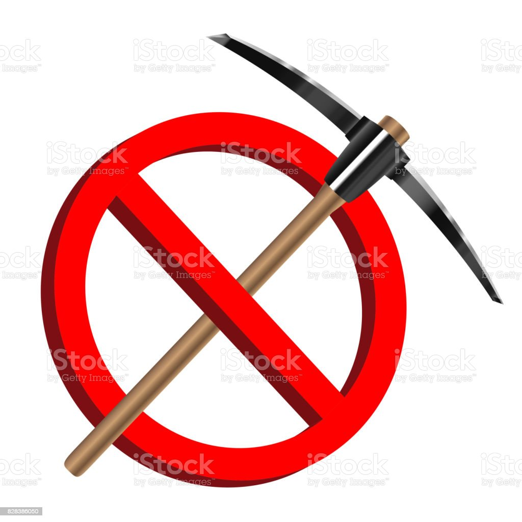no digging with pickaxe icon prohibition sign vector art illustration