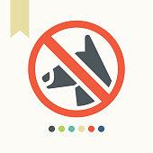 No dog icon. Dog walking fobidden symbol.