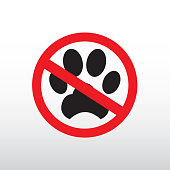 No Dog paw sign icon. Pets symbol. Red prohibition sign. Stop.