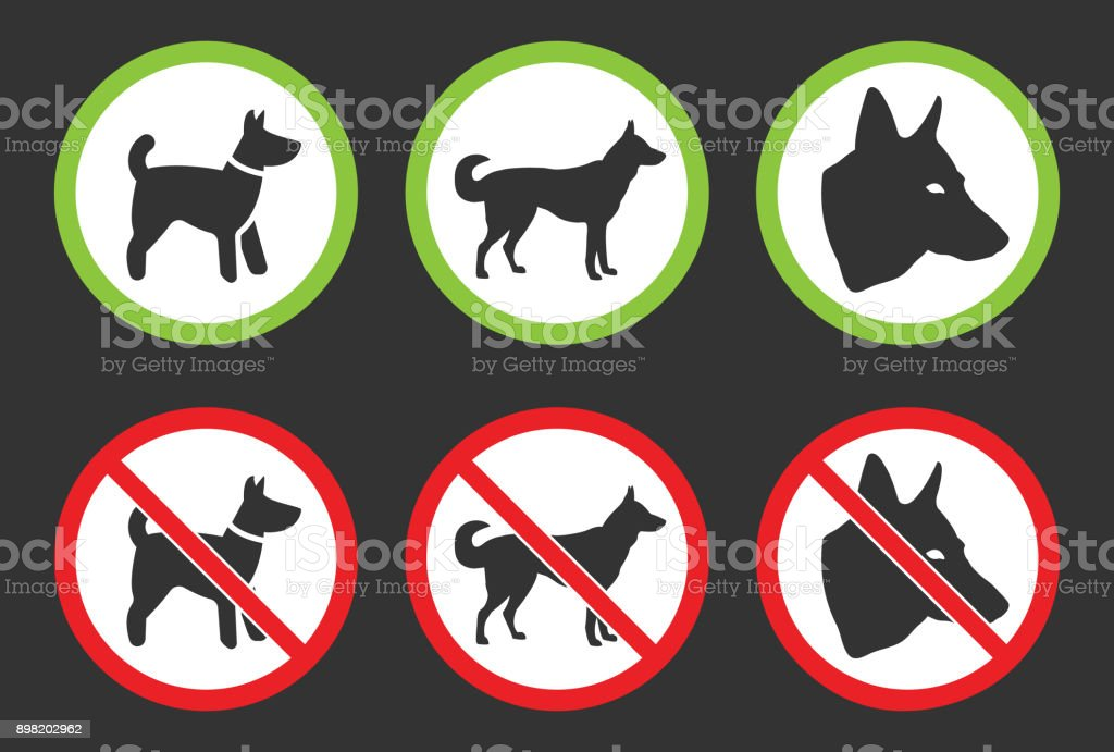 no dogs icons dog prohibited and allowed signs stock vector art
