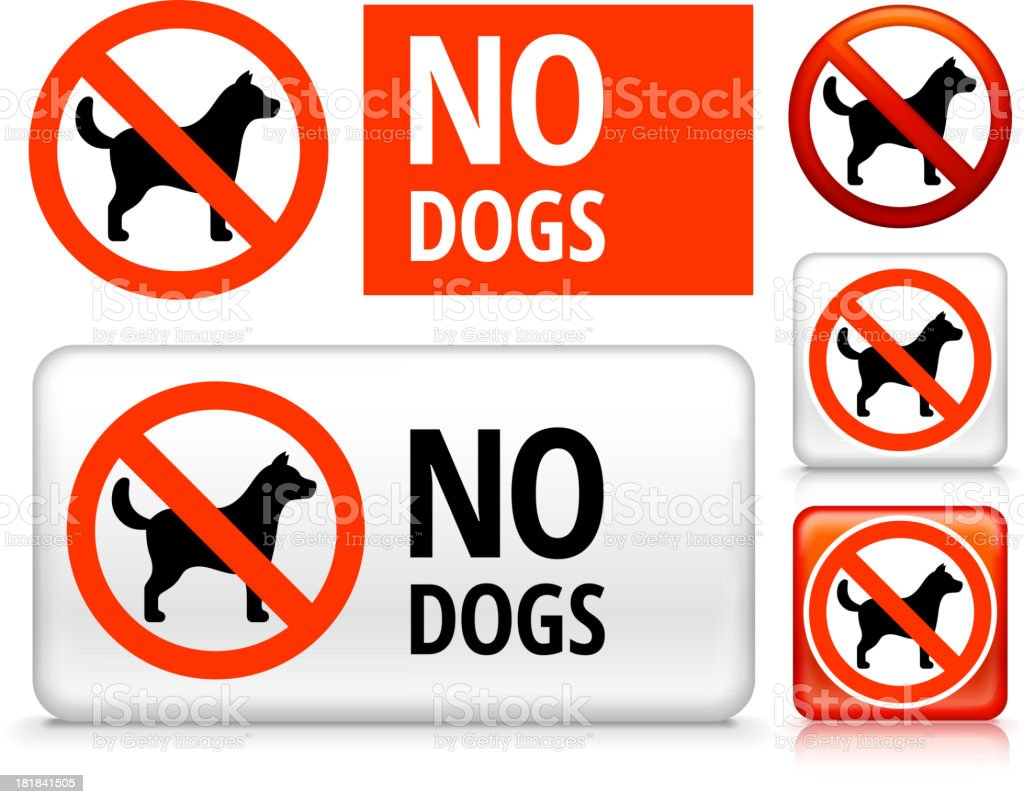 No Dogs royalty free vector art Buttons vector art illustration