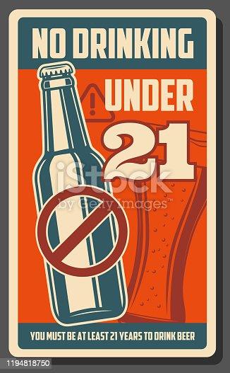 istock No drinking under 21, alcohol forbidden bar poster 1194818750