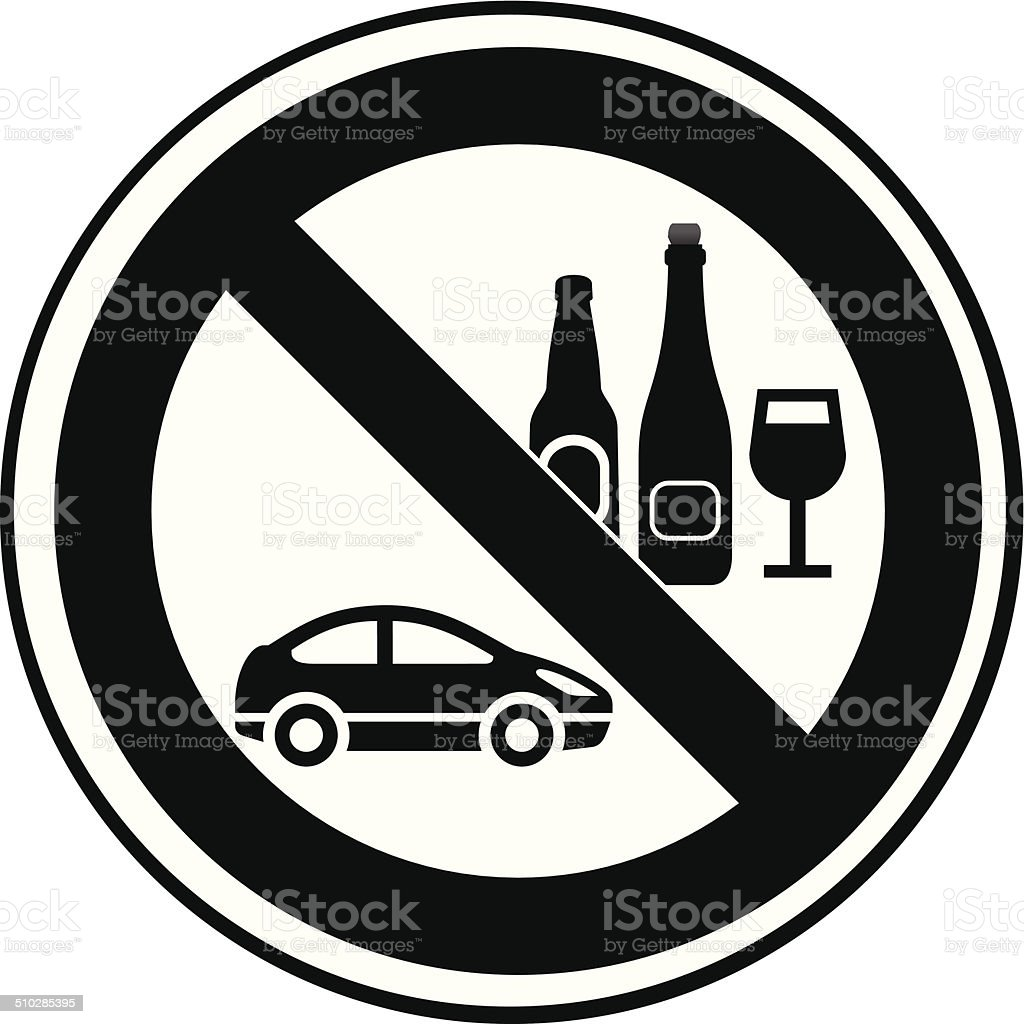 no drinking while driving black and white warning sign vector art illustration