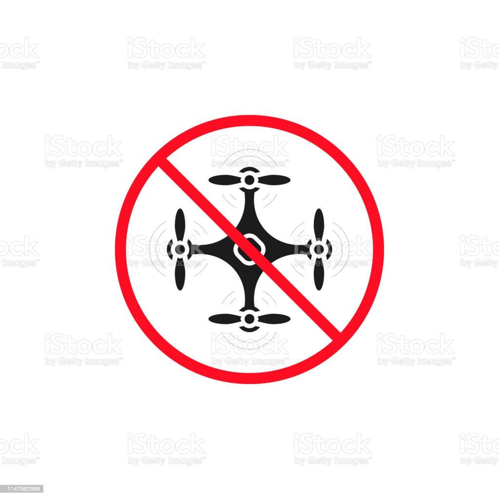 No drone zone sign. No drone icon vector. Flights with drone...
