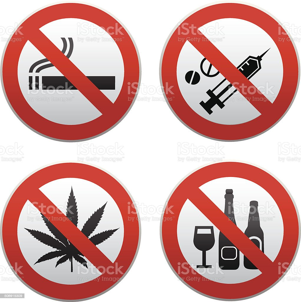 no drug sign kit vector art illustration