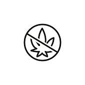 No drugs sign line icon
