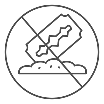 No drugs thin line icon, life without addiction concept, anti cocaine sign on white background, razor blade and powder icon in outline style for mobile concept and web design. Vector graphics.