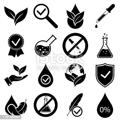 No dye added set icons, logo isolated on white background. Hypoallergenic tested, organically clean no added chemistry, no harm to health